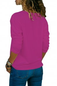Purple Long Sleeve V Neck Casual Top