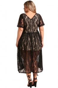 Black Plus Size Floral Lace Flared Midi Dress