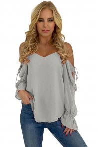 Gray Spaghetti Strap Cold Shoulder Long Sleeve Top