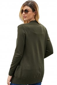 Green Knit Long Sleeve Cardigan Top with Pockets