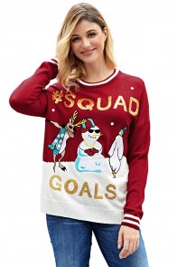 Red SQUAD GOALS Christmas Snowman Sweater
