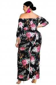 Black Tropical Floral Print Plus Size Off Shoulder Jumpsuit
