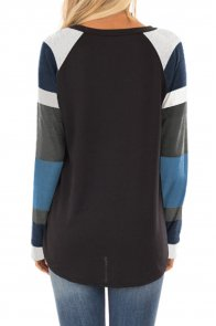 Color Block Long Sleeves Black Pullover Top
