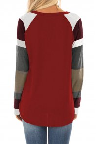 Color Block Long Sleeves Burgundy Pullover Top
