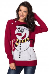 Red Snowman Knit Crew Neck Sweater