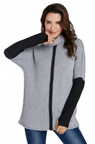 Charcoal Gray Individual Cowl Neck Pullover Sweater