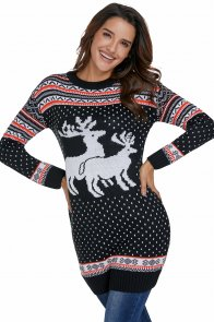 Snow Land Reindeer Knit Black Christmas Sweater