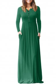 Hunter Green Long Sleeve Button Down Casual Maxi Dress