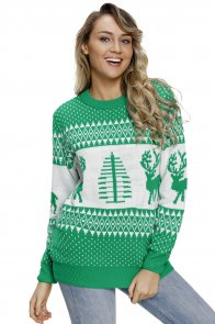 Green White Reindeer and Christmas Tree Sweater