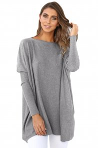 Grey Classic Wide Neck Knitted Jumper