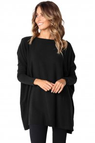 Black Classic Wide Neck Knitted Jumper