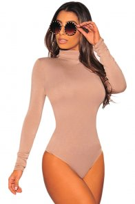 Apricot Long Sleeve Turtleneck Bodysuit