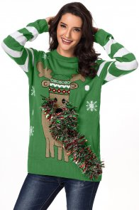 Green Festive Reindeer Holiday Sweater