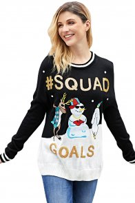Black SQUAD GOALS Christmas Snowman Sweater