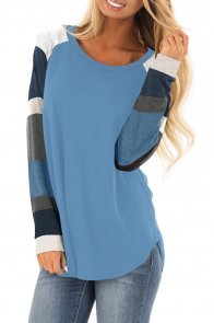 Color Block Long Sleeves Blue Pullover Top