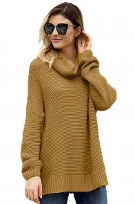 Khaki Cozy Long Sleeves Turtleneck Sweater
