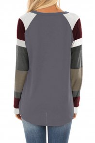 Color Block Long Sleeves Gray Pullover Top