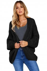 Black Chunky Wide Long Sleeve Knit Cardigan