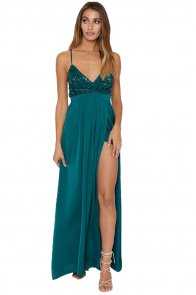 Emerald Sequined Silky Maxi Party Dress