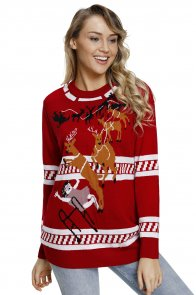 Reindeer Jump Over Red Ugly Christmas Sweater
