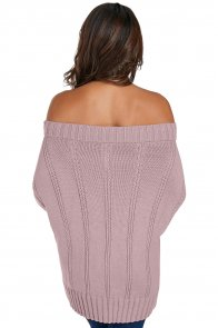 Pink Off The Shoulder Winter Sweater