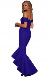 Royal Blue Lace Trim Off Shoulder Mermaid Party Dress