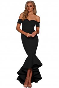 Black Lace Trim Off Shoulder Mermaid Party Dress