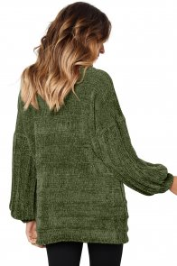 Army Green Soft Velvet Knit Sweater Jumper