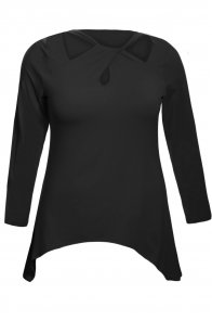 Black Plus Size Cutout Swing Tunic Top