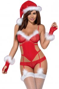 Fluffy Trim Sexy Christmas Lingerie Costume