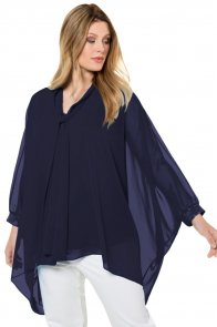 Navy Long Sleeve Chiffon Overlay Plus Size Blouse