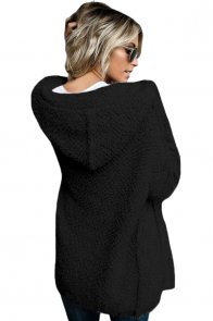 Black Fluffy Hooded Open Front Cardigan