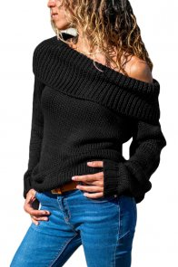 Black Turn-down Collar Show Shoulder Ribbed Sweater