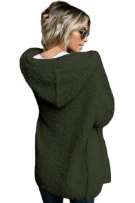 Army Green Fluffy Hooded Open Front Cardigan