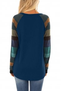 Color Block Long Sleeves Navy Pullover Top