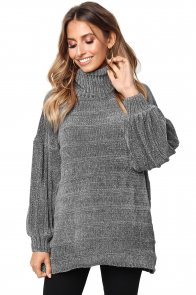 Gray Soft Velvet Knit Sweater Jumper