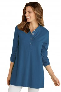 Blue Snap Button Neck Long Sleeve Tunic