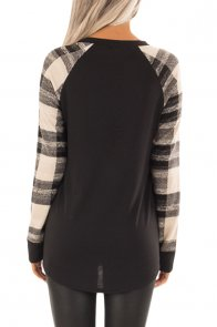 Monochrome Plaid Long Sleeves Black Pullover Top