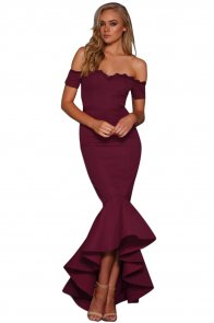 Burgundy Lace Trim Off Shoulder Mermaid Party Dress