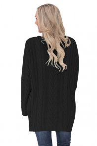 Black Button the Deep V Front Cable Sweater Cardigan