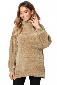 Khaki Soft Velvet Knit Sweater Jumper