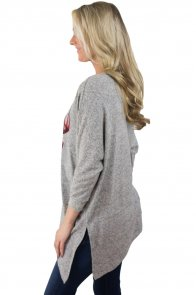 Christmas Deer Plaid Gray Long Sleeve Tunic