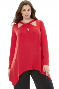 Red Plus Size Cutout Swing Tunic Top