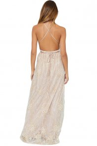 Apricot Daring Open Back Glittering Party Dress