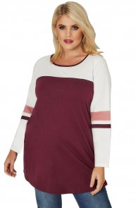 Burgundy White Color Block Long Sleeve Plus Size Top