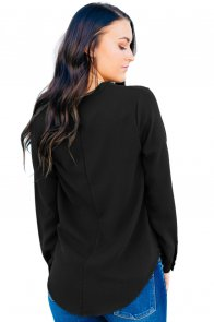 Black Surplice Button Trio Top