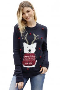 Navy Cartoon Front Accent Christmas Sweater
