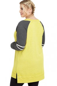 Yellow Charcoal Plus Size Long Sleeve Football Tunic