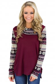 Christmas Snowflake Spliced Burgundy Sweatshirt