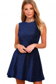 Shine The Way Blue Sleeveless Skater Dress